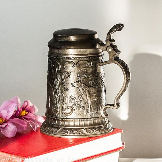 Pewter Beer Mug With A Lid Vintage Beer Stein With Cover