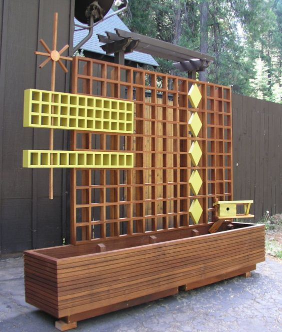 Mid Century Modern Marque Privacy Screen or Trellis, Solid Mahogany, Googie, Mid Century Modern, Garden Sculptures, Atomic Garden Art.