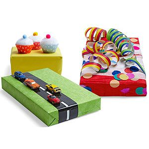 """Like the """"easy street"""" Hot Wheels gift wrap idea for the next little boy's present!"""