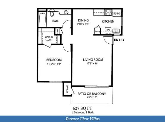 Apartment floor plans 1 bedroom apartments and san diego on pinterest - Terras appartement lay outs ...