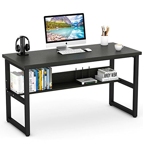 Tribesigns Computer Desk With Bookshelf 55 Simple Morden Style Writing Desk With Metal Legs W Bookshelf Desk Home Office Furniture Modern Home Office Furniture