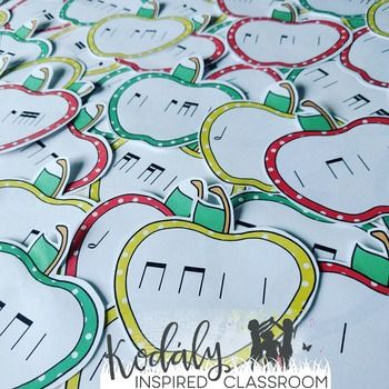 Rhythm games for elementary music class - Practicing reading rhythms with these games! Picking Apples - Rhythm Games: Bundled Set - perfect for back to school, fall, or any time of year in the music classroom. Great opportunities for extensions from apple themed songs and composition with these cards too! Rhythm games / music lesson plans / elementary music activities / fall music / #kodalyinspiredclassroom #elementarymusic #elmused #musiceducation #musiced