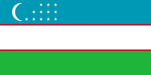 The flag of Uzbekistan was officially adopted on November 18, 1991.     The flag features a new moon symbol and one white star for every month of the year. The blue is representative of water and sky; white represents peace; green represents the fertile land, and the two red stripes are symbolic of the people.