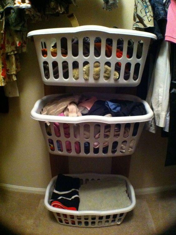 DIY: Closet clothes basket rack...neat idea!