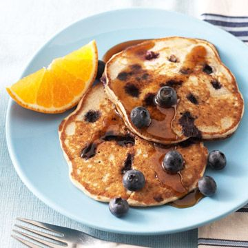 Blueberry Buckwheat Pancakes  Buckwheat, used in these Blueberry Buckwheat Pancakes, contains a phytochemical that might have a beneficial effect on blood glucose level