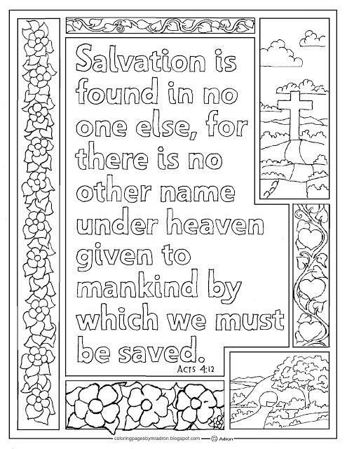 Acts 4 12 Print And Color Page There Is No Other Name Bible Verse