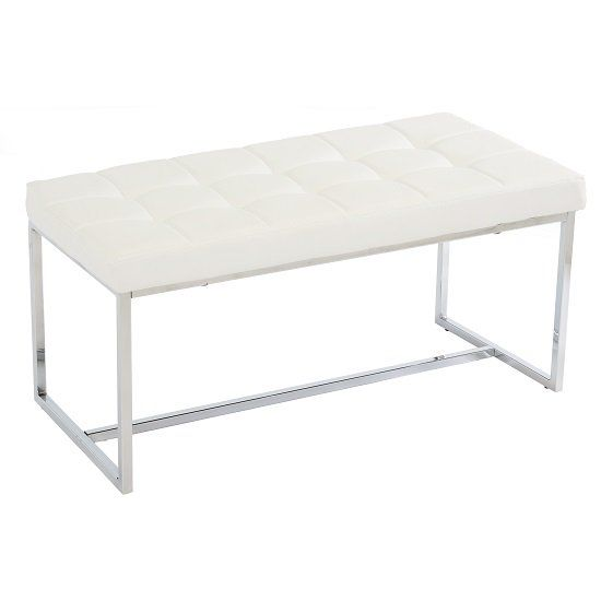 Dining Bench In White Pu Leather