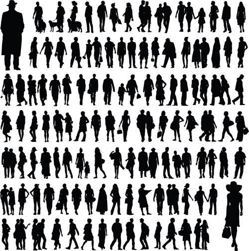Different People Silhouettes Creative Design Silhouette Creative Silhouette Architecture Silhouette People