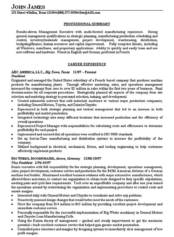 Manufacturing Executive Resume Example Executive resume, Resume - Example Of A Resume Summary