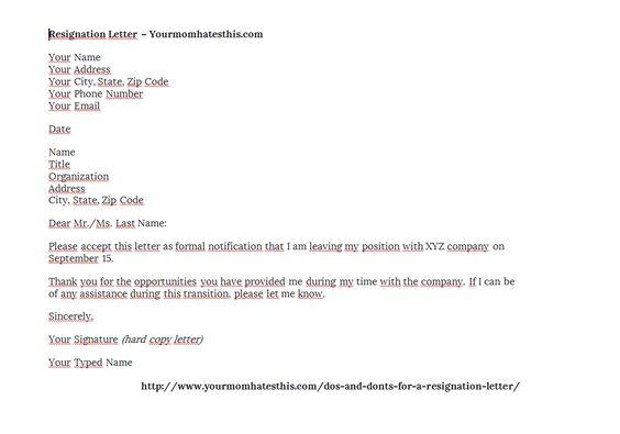 Download Resignation Letters Pdf Doc Effective Simple Letter