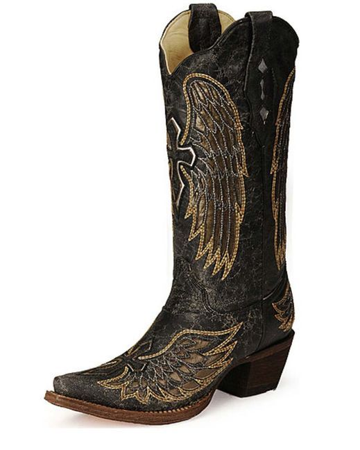 s distressed black winged cross golden inlay boot