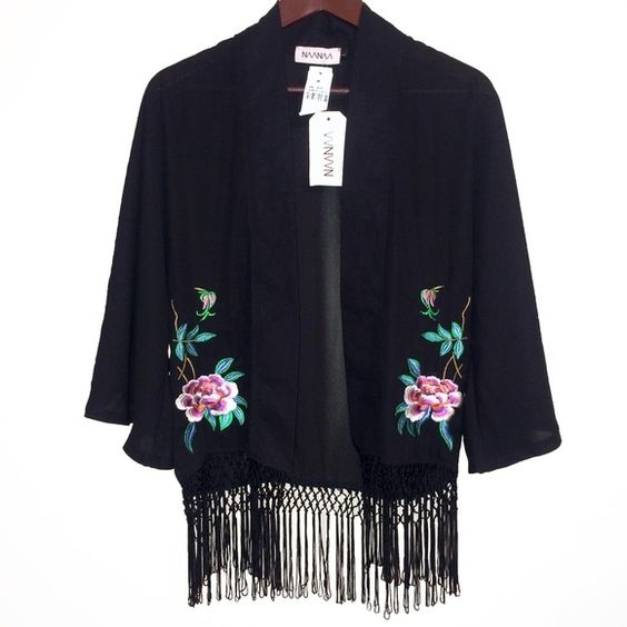 NAANAA - LF - Floral Embroidery - Fringe Kimono NEW WITH TAGS * sheer black, fringe along hem, 3/4 bell sleeves, floral embroidery, kimono jacket. Elegant & beautiful! SIZE: Small - could for larger (& XS) BRAND: NAANAA at LF ❌TRADES❌ LF Tops