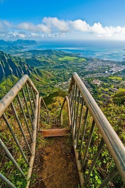 Haiku Stairs, Hawaï  One day I will climb this staircase with ease...and witness a beautiful abyss from the top. <3  08/27/14