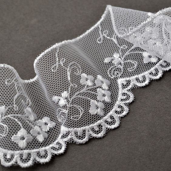 Flower Embroidered tulle lace  • Measurement: Approx. 1-3/4Inches wide • Available Colors:Black, White  Perfect for seasonal craft projects, fashion accessories, apparel, home décor accent, and gift wrap Listing for 1 yard  Price for 1 yard is $4.50  ---------------------------------------------------------------------------------------------- Also available other colors:  • Ivory, Yellow : https://www.etsy.com/listing/210845868/flower-embroidered-tulle-lace-trim-1-34 • Brown, Red…