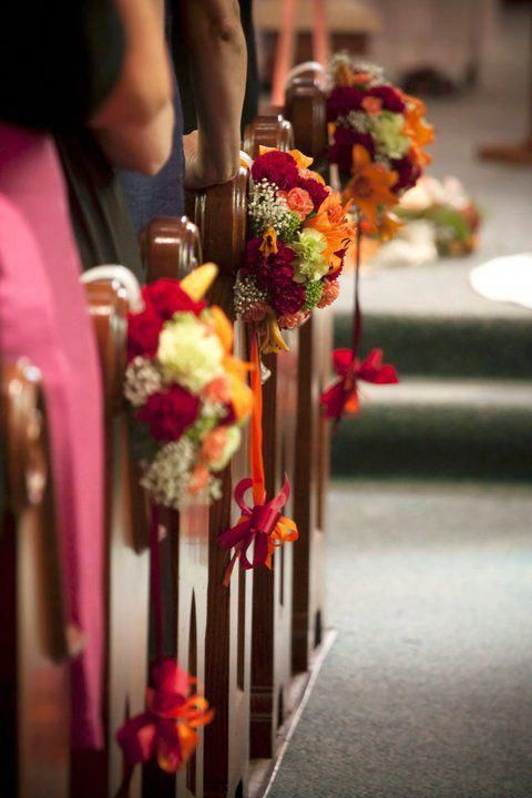 Church Pew Flowers For A Fall Wedding Created By Pave