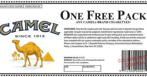 graphic about Mall America Printable Coupons named Pin upon free of charge camel cig coupon