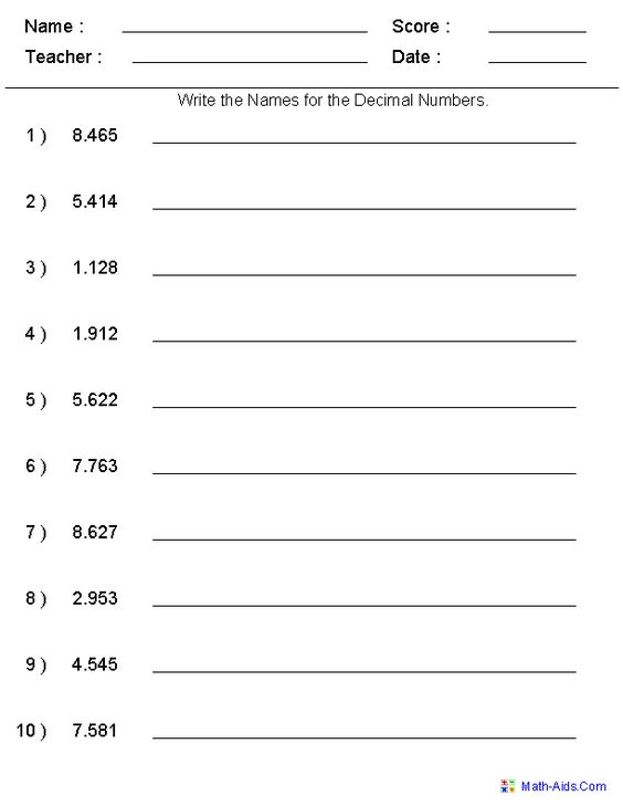 Writing Word Names for Decimal Numbers | Place Value worksheet ...
