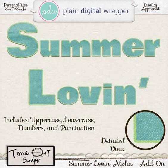 Summer Lovin' Alpha by Time Out Scraps  @Plaindigitalwrapper.com