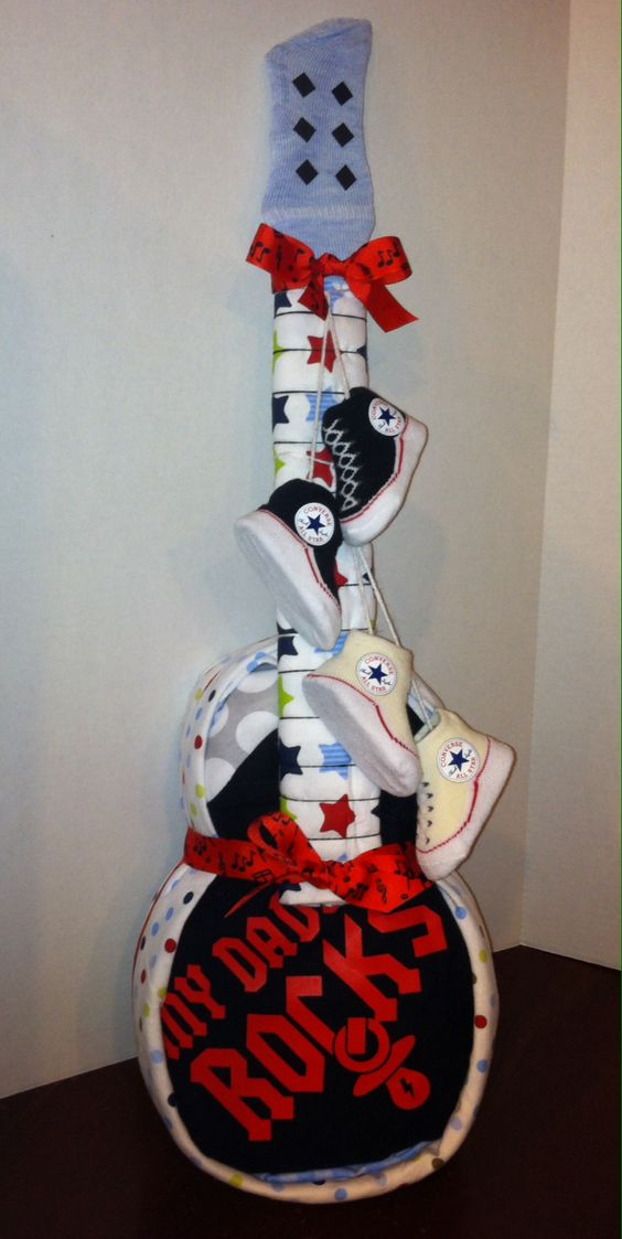 Diaper Cake Guitar~ Don't forget Rockstar themed personalized napkins for your shower! #details #babyshower www.napkinspersonalized.com
