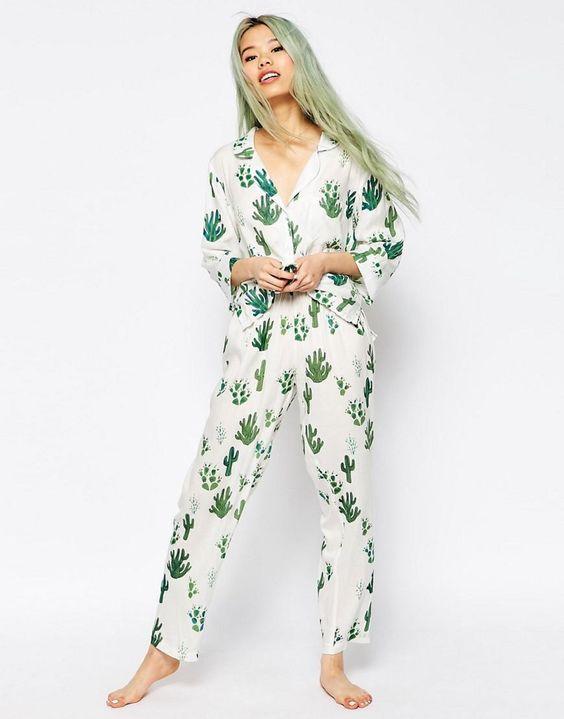 ASOS | ASOS Cactus Traditional Shirt & Long Leg Pyjama Set at ASOS