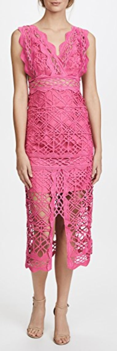Beautiful pink lace sheath dress