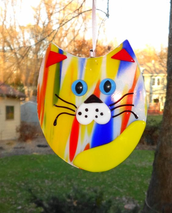 New to GlassCat on Etsy: Fused Glass Cat Suncatcher Yellow Red and Blue Fused Glass Cat Cubby Cat Suncatcher Kitten Suncather Mardi Gras Cat (15.00 USD)
