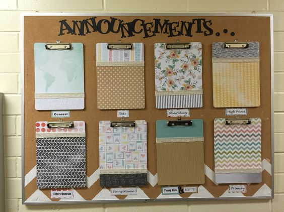 Lds church bulletin board church announcements neat and for Bulletin board organization