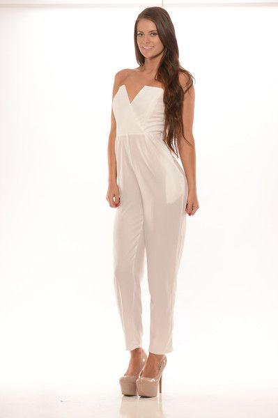 Tube V Wire Jumpsuit - Ivory