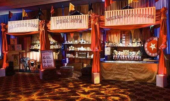 vintage carnival games use burlap for front of booths