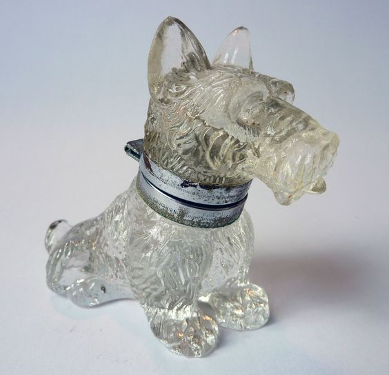 Antique Scottie Glass Inkwell: