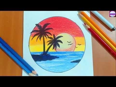 رسم منظر طبيعي سهل رسم منظر طبيعي بالالوان الخشبية رسم مناظر طبيعية تعليم الرسم Art Drawings Sketches Simple Disney Art Drawings Pencil Drawings Tumblr
