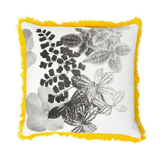 100% linen cushion hand screen printed with meadow design in black finished with yellow fringe trim (C1125).  Dimensions: 50cm x 50cm (feather insert included)  Care Instructions: Remove insert and hand wash or gentle machine wash separately with gentle laundry liquid, line dry and iron on reverse whilst slightly damp. Please do not bleach, tumble dry or dry clean.