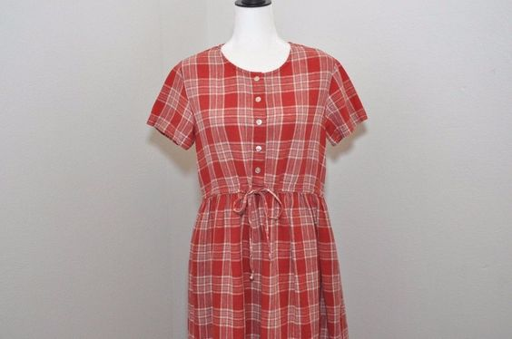 Vtg Eddie Bauer Linen Farm Dress 90's Grunge Red Plaid Sz Petite S Button Down #EddieBauer #MaxiButtonDown #Casual