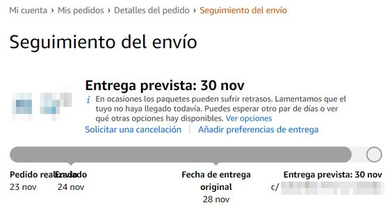 Seguimiento del envío Amazon