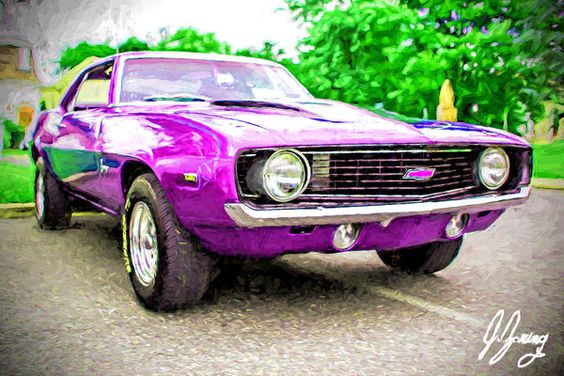Purple Camaro Print by Joshua Zaring.  All prints are professionally printed…