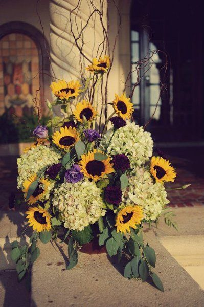 Ceremonies sunflowers outdoor ceremony and purple