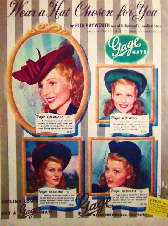 20/30 Rita Hayworth ads: Rita advertising various hats in 1941.