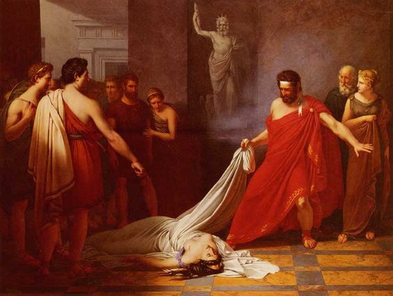 Charles Auguste van den Berghe - Aegisthus is suprised to see the dead Clytemnestra instead of Orestes. Tags: aegisthus, aigisthos, clytemnestra, klytemnestra, orestes,