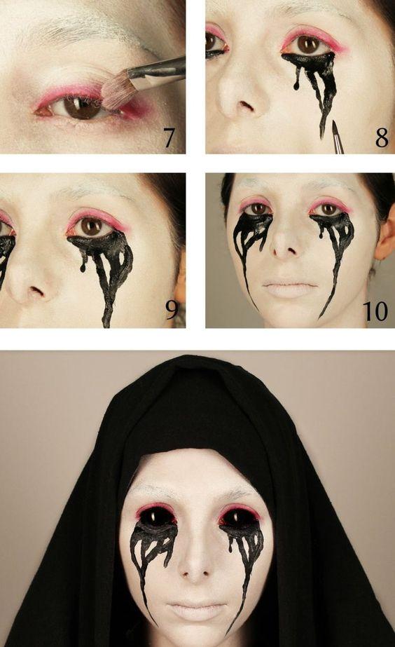 Idées de maquillage halloween femme à copier - nonne possédée