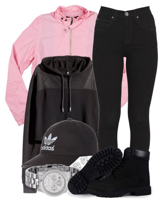 """""""11 7 15"""" by miizz-starburst ❤ liked on Polyvore featuring Members Only, H&M, Dr. Denim, adidas Originals, Michael Kors and Timberland"""
