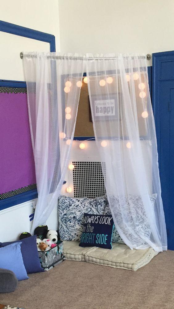 Calming corner in classroom Flexible seating, alternative lighting, calming class