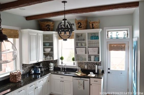 Faux wood beams. Complete kitchen reveal.
