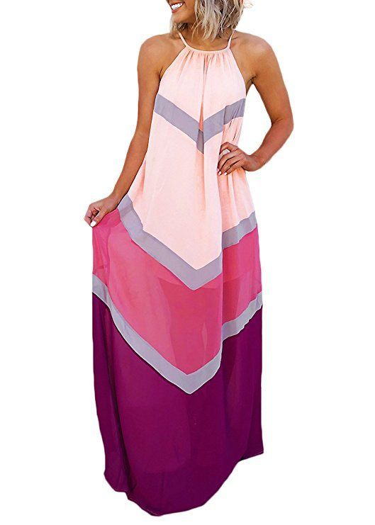 Joyfunear Womens Chiffon Halter Striped Color Patchwork Pleated Back Hollow Out Maxi Long Dresses