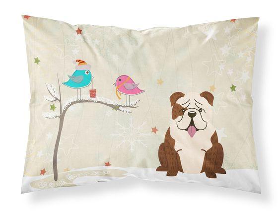 Christmas Presents between Friends English Bulldog Brindle White Fabric Standard Pillowcase BB2593PILLOWCASE