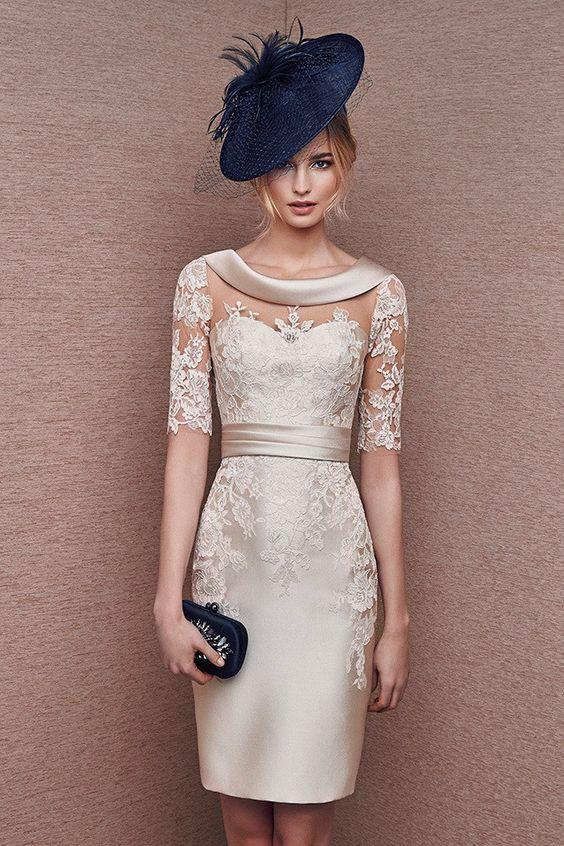 Vestido color crema en mikado y encaje modeo 6628 de It's My Party by It's My Party   Boutique Clara: