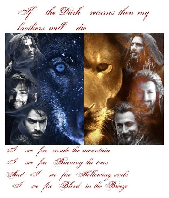 """Thorin: ""Fili don't be a fool, you belong with the company."" Fili: ""I belong with my brother."""" by ashley6sixx ❤ liked on Polyvore"