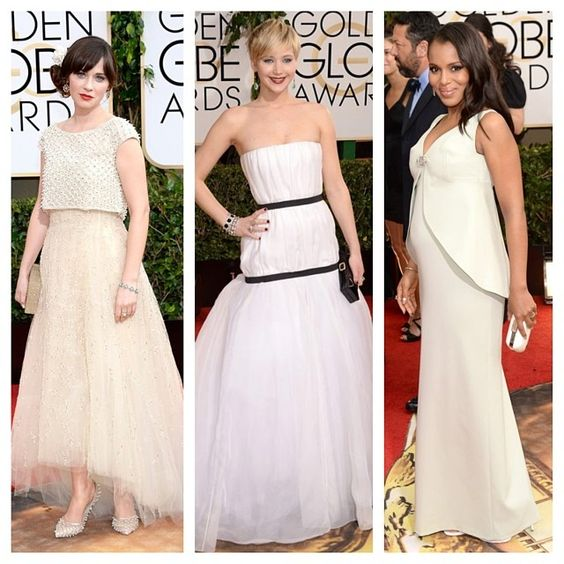 #ZooeyDeschanel in #OscarDeLaRenta, #JenniferLawrence in #Dior & #KerryWashington in #Balenciaga at the 2014 #GoldenGlobes. #White #gowns for the win.