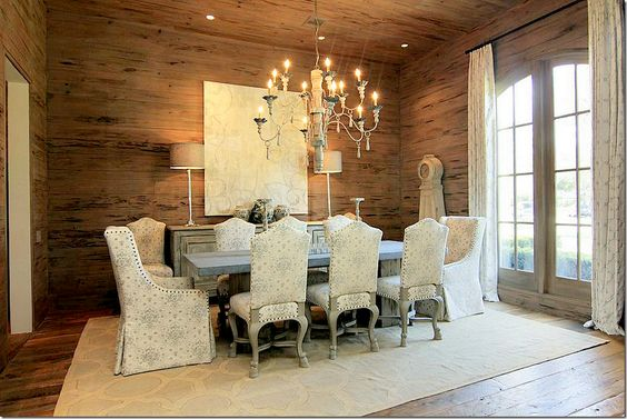 in love with the wood covered walls.  Wood is called Pecky Cypress