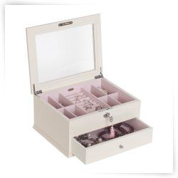 Mele Felicity Glass Top Locking Wooden Jewelry Box