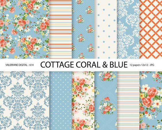 Shabby Chic Digital paper pack in coral and by ValerianeDigital                                                                                                                                                                                 Mais